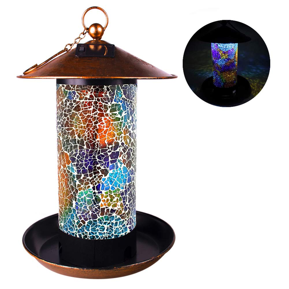 Solar Bird Feeder Hanger Lantern for Outdoor Hanging LED Garden Light Mosaic Lamp Lantern Waterproof 7 LB(Multicolor)