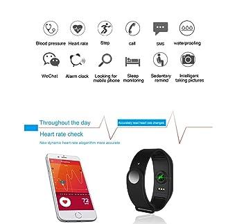 LANMEI Pulsera Inteligente Tensiómetro Reloj Podómetro,Blue: Amazon.es: Deportes y aire libre