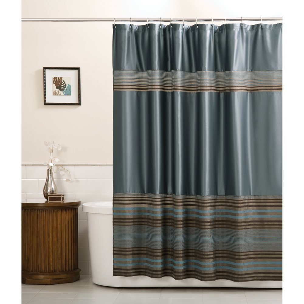 Amazon.com: Maytex Mark Chenille Fabric Shower Curtain, Blue: Home ...