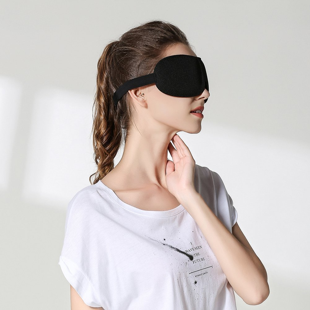 EFULL 3D Mousse Souple /à M/émoire de Forme Masque de Yeux Ergonomique Masque de Sommeil Pack de 2