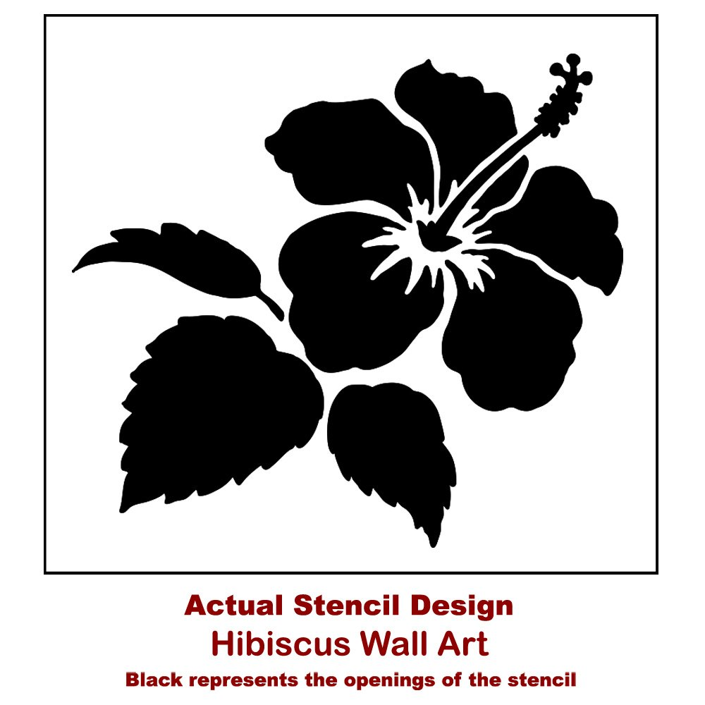Amazon hibiscus wall art stencil trendy easy diy floral amazon hibiscus wall art stencil trendy easy diy floral stencils for home decor tropical stencil design diy home decor reusable stencils for izmirmasajfo