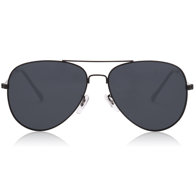 93ab1120cda86 Amazon.com  SOJOS Classic Aviator Polarized Sunglasses Mirrored UV400 Lens  SJ1054 with Black Frame Grey Polarized Lens  Sports   Outdoors