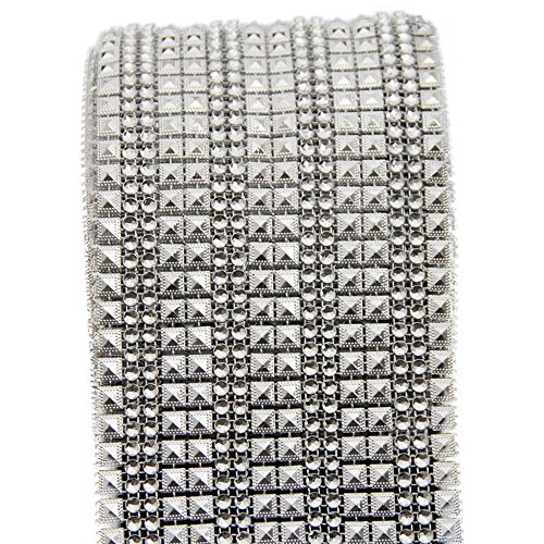 USIX 16 Rows-4.3″ Wide Artificial Sparkling Glitter Pyramid Shaped Rhinestone Diamond Mesh Ribbon Webbing Wrap for DIY Arts Craft Sewing Wedding Bouquet Cake Birthday Party Decor(Silver)