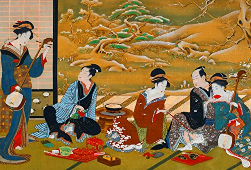 Japanese Art Print POSTER A3 Geisha Winter Party Utagawa Toyoharu Picture Oriental Wall decor