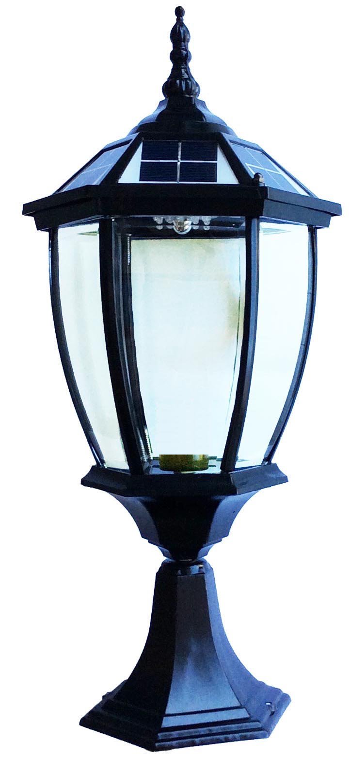 The Round Extra Large Solar Post Cap Lights or Solar Pillar, Diameter: 9.8 Inch; Height: 20.5 Inch. Solar Powered Post Caps. Elegantly Designed Solar Light Post Caps (Pure Black) by Smart Light