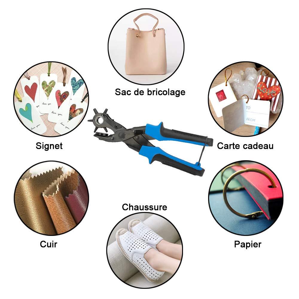Caucho SENZEAL Herramienta de perforaci/ón de alicate Piel de Agujero de cintur/ón de Contraste para Cinturones artesan/ía Placa