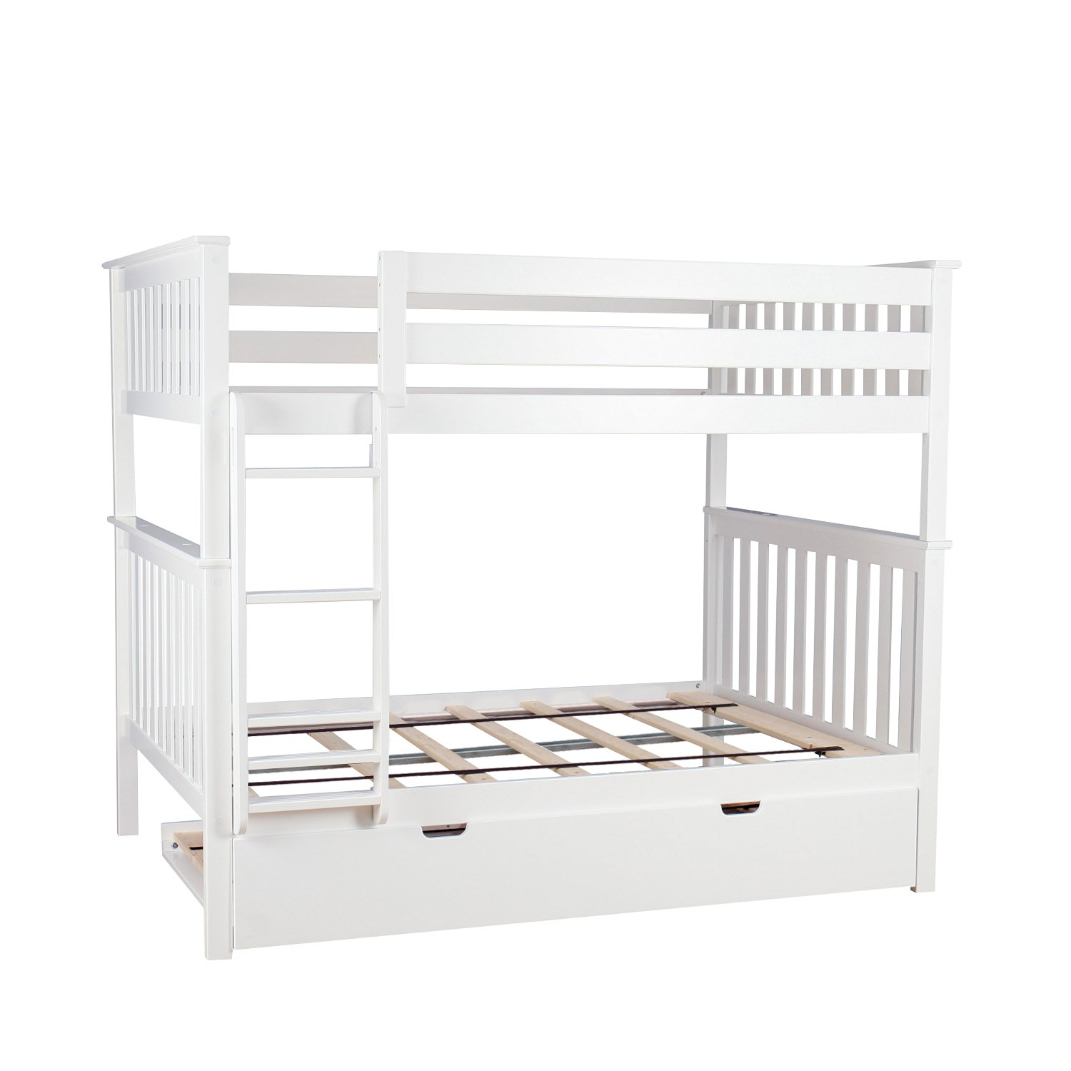 Max Lily Solid Wood Full over Full Bunk Bed with Trundle Bed, White