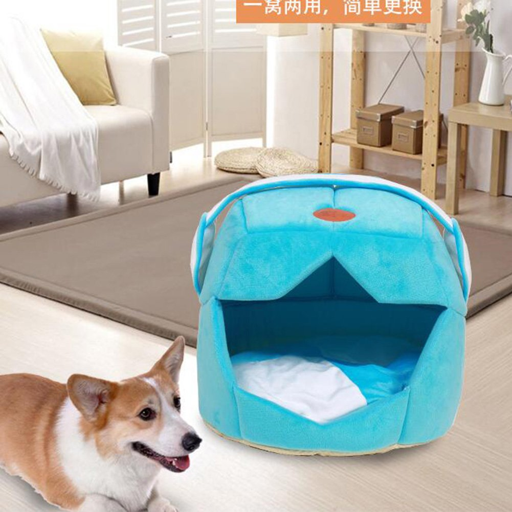 Kuuboo - Cama de perro o gato de felpa suave, casa cómoda lavable, extraíble, plegable para las cuatro estaciones. Saco de dormir, nido, cueva para papillón ...