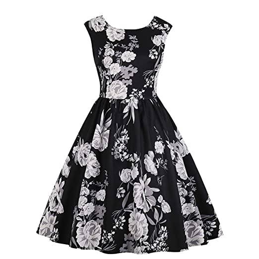 8ccddf4912d3 EINCcm Women's Casual Swing Sleeveless Dress Floral Print Pleated Dress  1950s Retro Rockabilly Prom Party Cocktail
