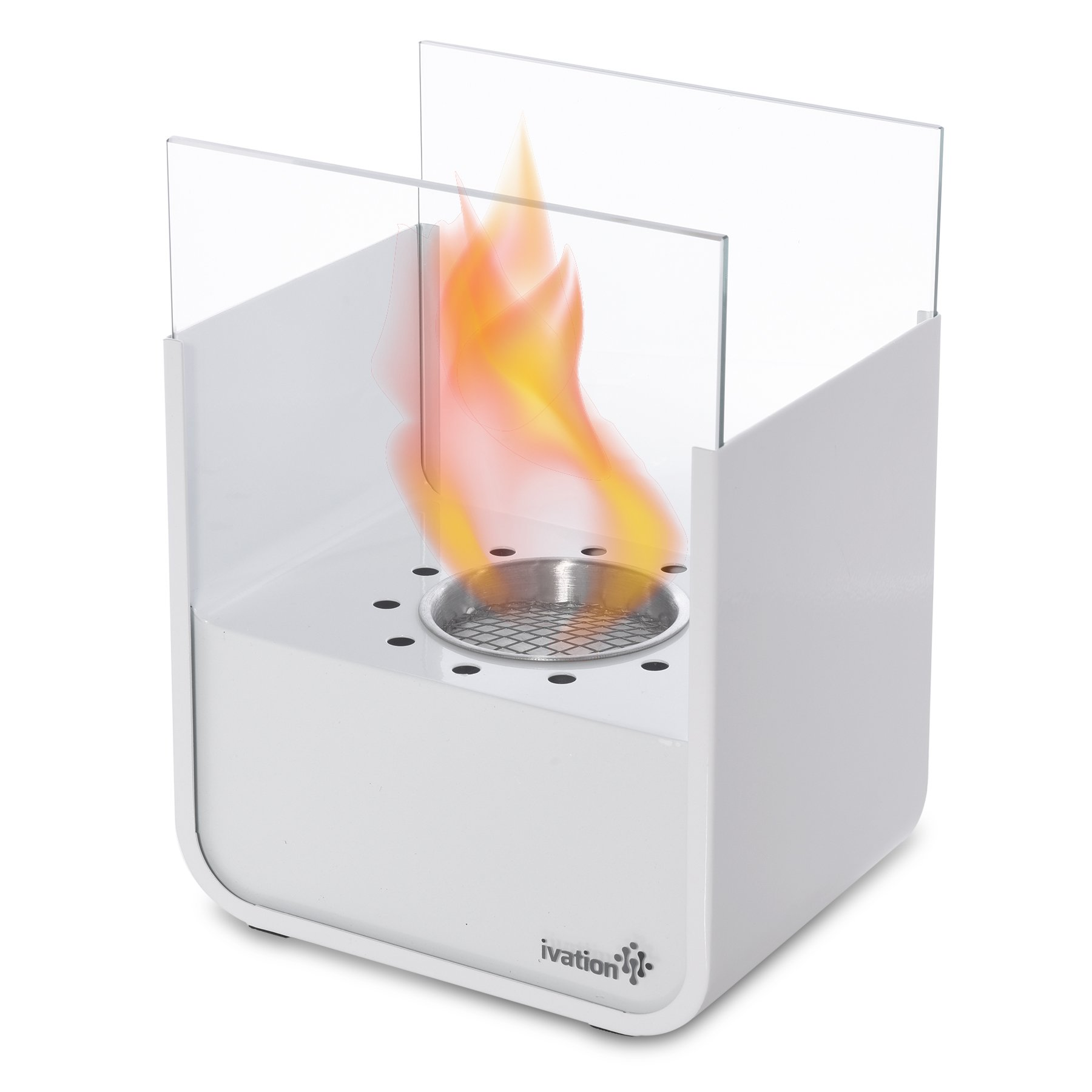 Ivation Vent-Less Mini Tabletop Fireplace – Stainless Steel Portable Bio Ethanol Fireplace for Indoor & Outdoor Use – Includes Decorative Fireplace, Fuel Canister & Flame Snuffer (White)