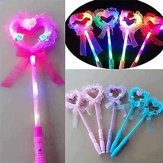 mAjglgE - Bacchetta Magica con luci LED Lampeggianti a Forma di Cuore, per Bambine, Colore Casuale