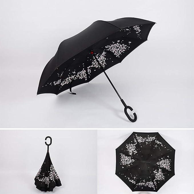 YZMBYUSAN Paraguas a Prueba de Viento Revertido Cierre de Doble ...