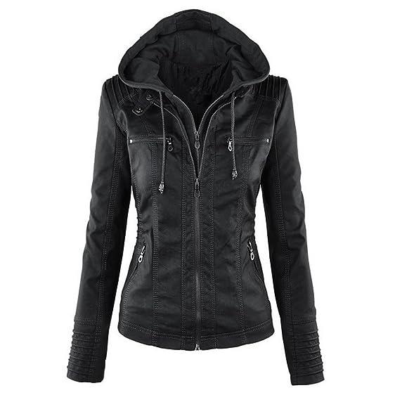 Newbestyle Women Hooded Faux Leather Jacket Hat Detachable Zipper ...