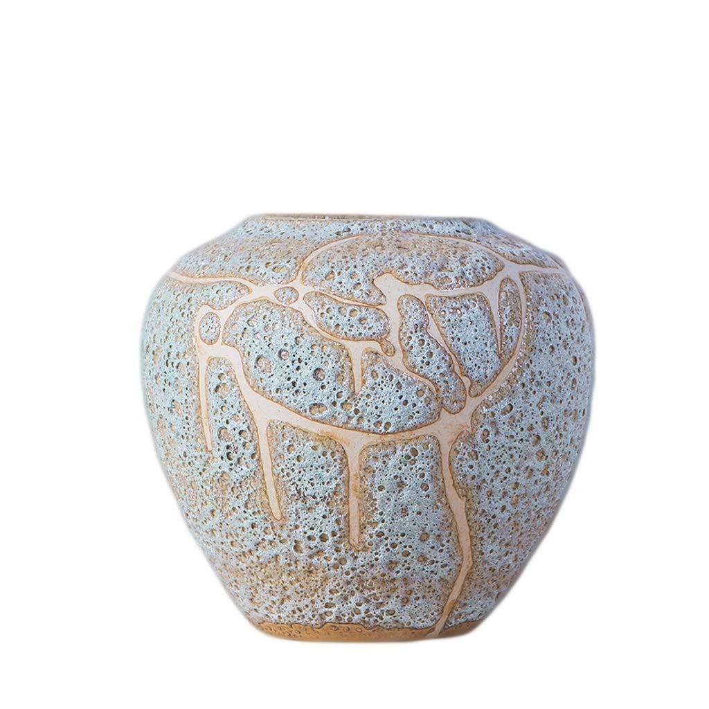 LIULIJUN 花瓶セラミックフラワーアレンジメント陶器ポットフラワーポットアンティークポーチ磁器装飾品レトロ陶器ドライフラワー磁器ボトル (Size : S) B07T7VYNNY  Small