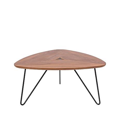 Rivet Table Basse Triangulaire En Noyer Et A Base En Metal Noir 77 X 65 X 56 Cm