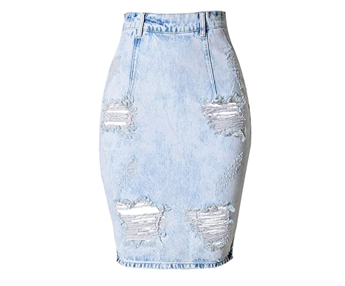 c8e426711d0 QINGFANG Women s Maxi Pencil Jean Skirt- High Waisted A-Line Long Denim  Skirts For Ladies- Blue Jean Skirt  Amazon.co.uk  Clothing