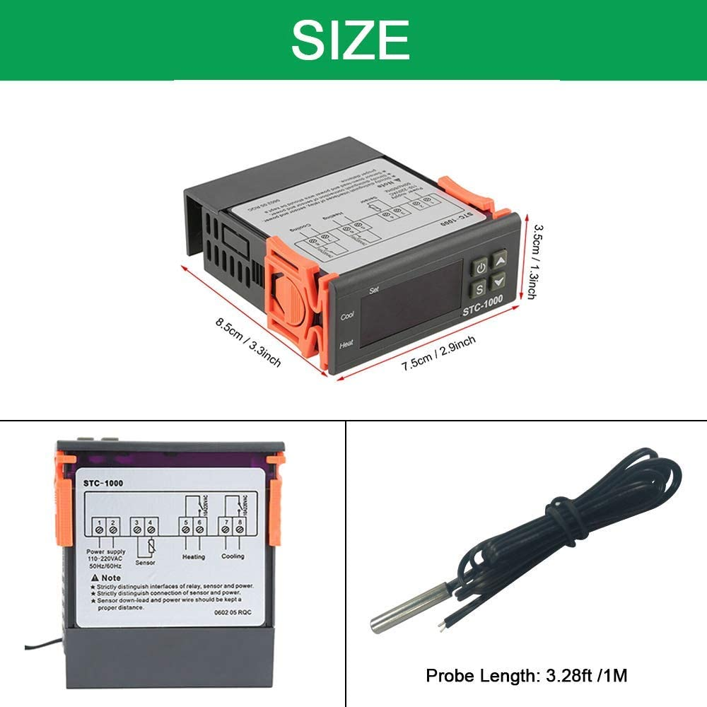 COVVY Capteur de temp/érature STC-1000 Digital Thermostat Centigrade CA 110-220V Contr/ôleur de Refroidissement//W 3ft NTC Sensor Probe