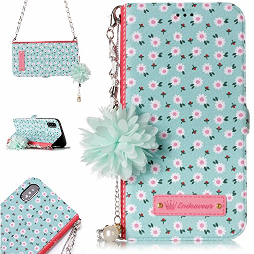 iPhone XS/X Wallet Case, Dooge [Flower Painting] Premium PU Leather Detachable Magnetic Folio Flip [Handbag Design] Protective Case with Chain Card Holder Slot Wrist Strap for iPhone X/XS