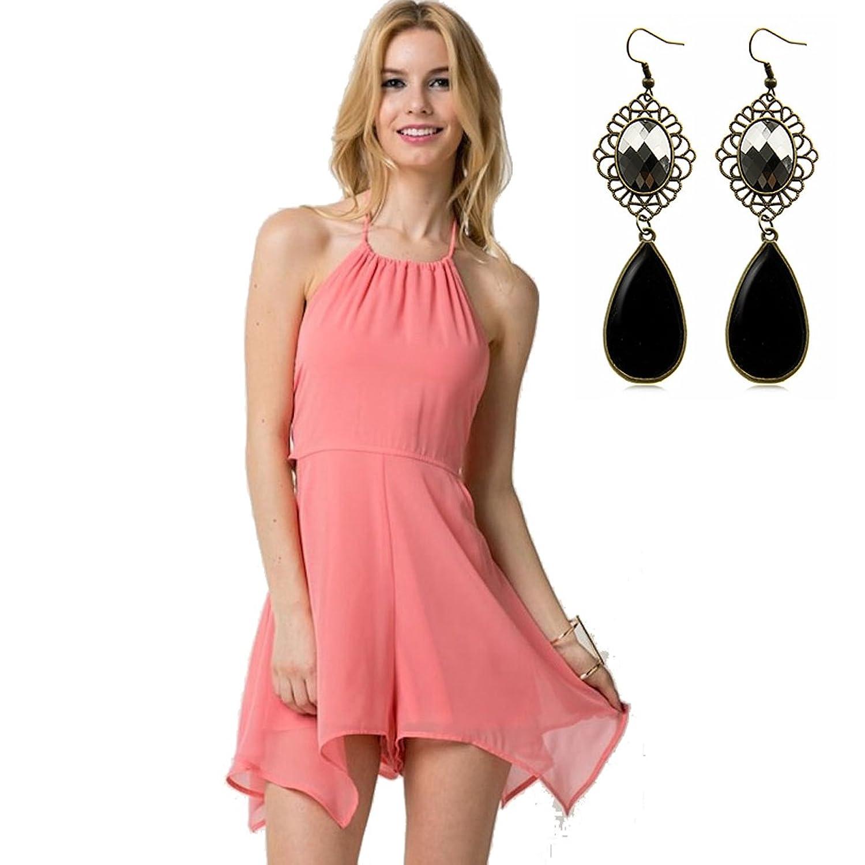 Sitengle Damen Sommerkleid Strandkleid Neckholder ärmellos Backless Shorts Overall Kleider Playsuits