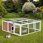 "PawHut 64"" Wooden Outdoor Rabbit Hutch Playpen with Run and Enclosed Cover 9"
