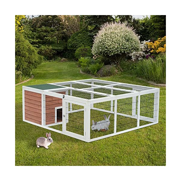 "PawHut 64"" Wooden Outdoor Rabbit Hutch Playpen with Run and Enclosed Cover 2"