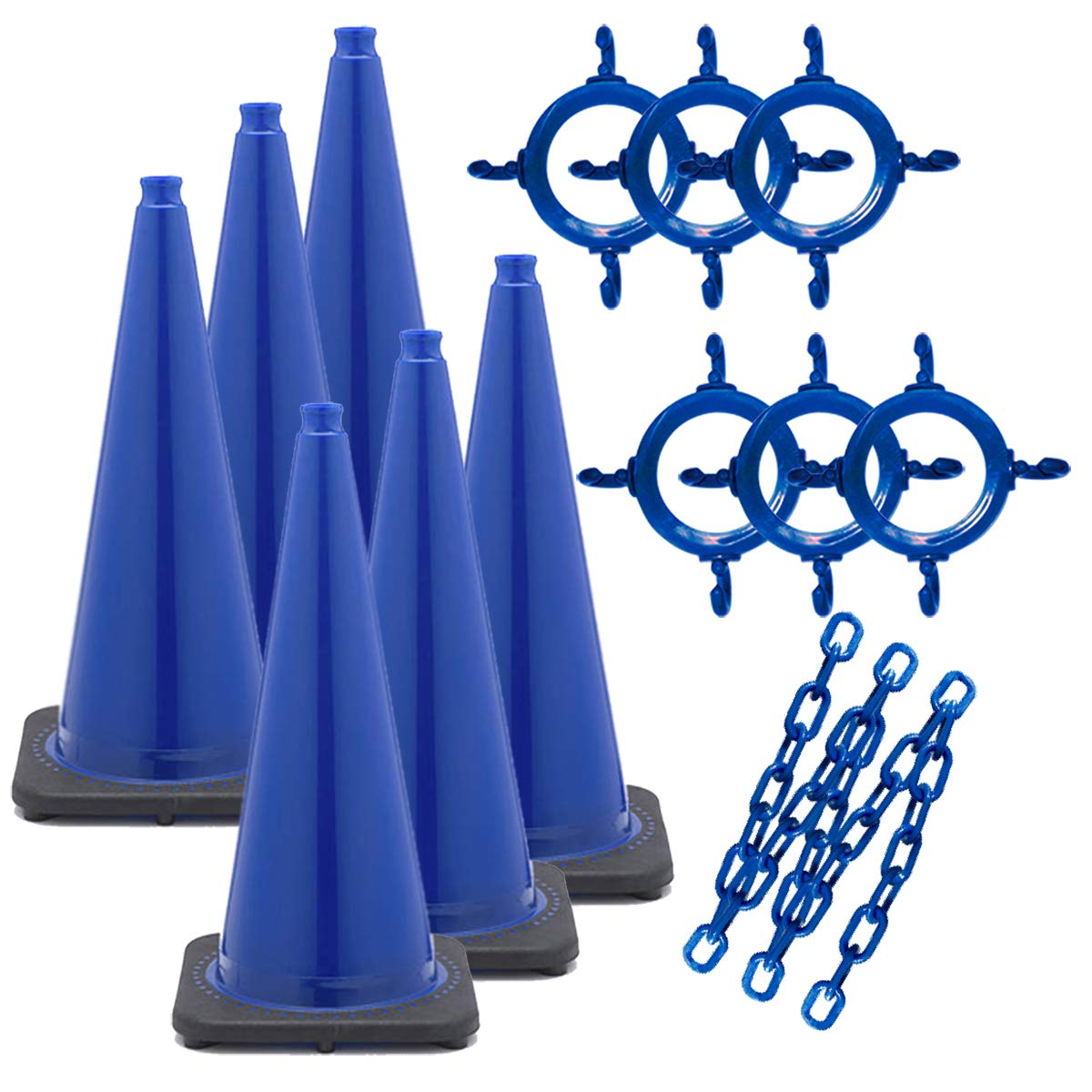 Mr. Chain Traffic Cone and Chain Kit, Blue, 28-Inch Height (93206-6) by Mr. Chain
