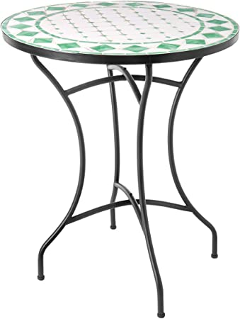 Mesa de terraza Auxiliar de cerámica Verde Garden - LOLAhome: Amazon.es: Hogar