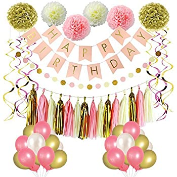 LITAUS Pink And Gold Birthday Decorations Party Supplies Happy Banner