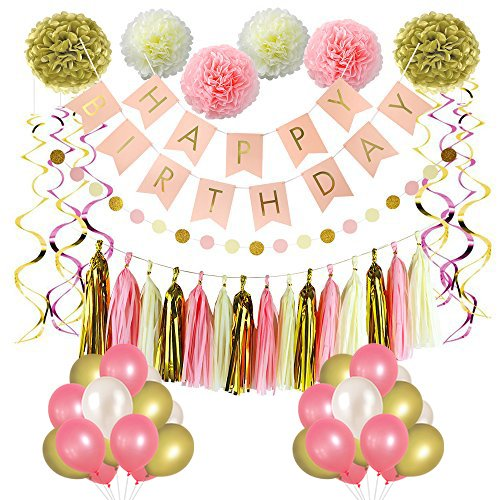 LITAUS Pink and Gold Birthday Decorations Party Decorations Supplies Happy Birthday Banner Party Balloons Paper Flowers Hanging Swirls for Girls Birthday Birthday Party Supplies