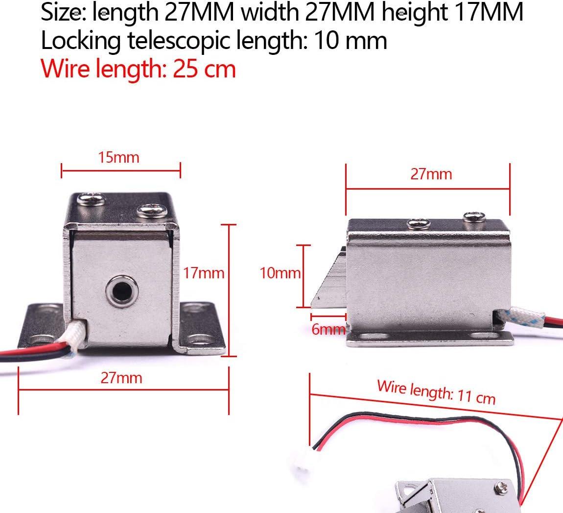 Atoplee 10pcs Mini Door Drawer Tongue Down Electric Lock Assembly Solenoid DC 12V Slim Design Lock,27X29X18mm