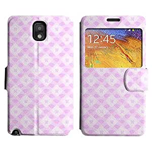 Be-Star Colorful Printed Design Slim PU Leather View Window Stand Flip Cover Case For Samsung Galaxy Note 3 III / N9000 / N9005 ( Pink Criss Cross ) Kimberly Kurzendoerfer