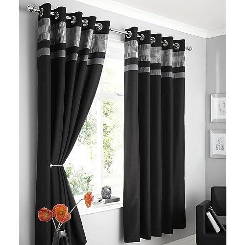 grey and black curtains. Black Bedroom Furniture Sets. Home Design Ideas