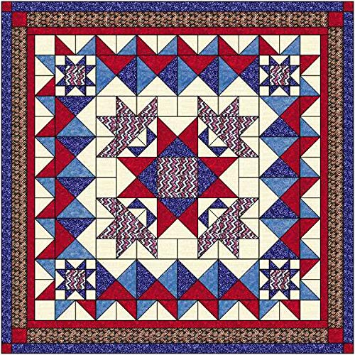 Easy Quilt Kit Stars n Stripes Patriotic, Red White and Blue by Material Maven