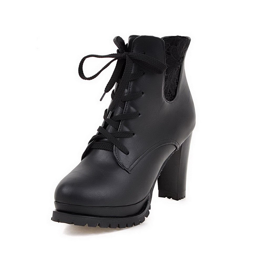 AmoonyFashion Women's High-Heels Soft Material Low-top Solid Lace-up Boots, Black, 32