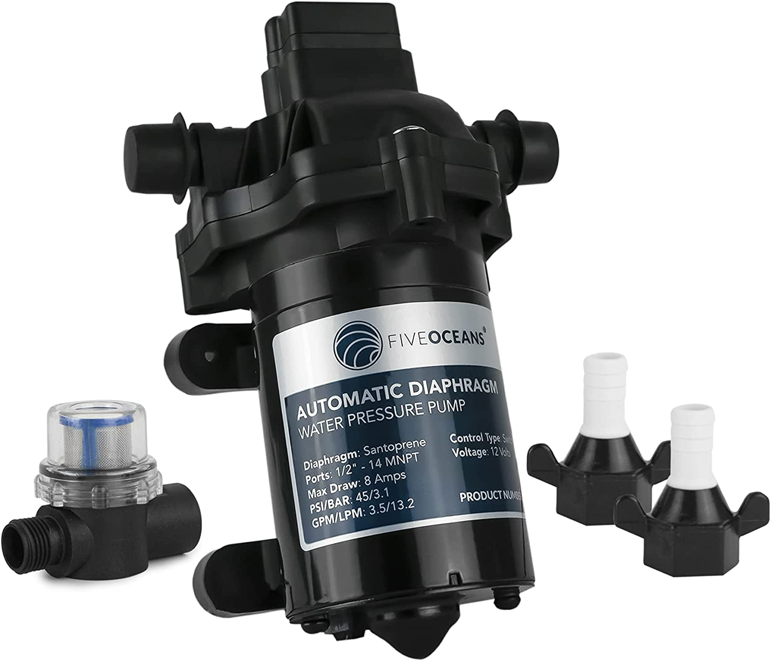 Five Oceans 12 volts Automatic Diaphragm Water Pressure Pump, Up to 45PSI / 3.0 GPM, Self-Priming, Run Dry Safe, FO-3605-1