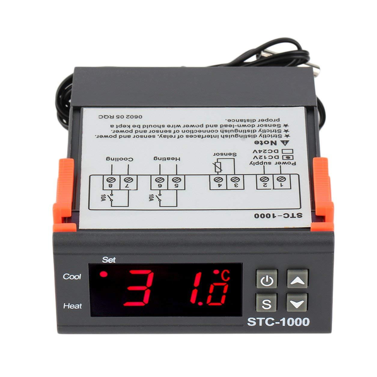 24V STC-1000 Termostato 50~99 gradi con sensore Regolatore di temperatura digitale con uscita a rel/è a due uscite professionale CC 12V