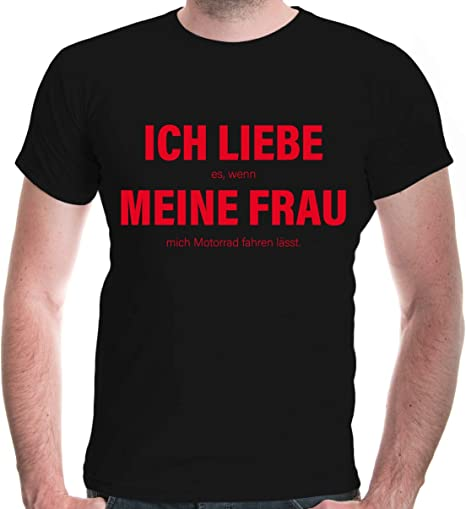 buXsbaum® Herren T-Shirt Liebe Frau Motorrad Biker Spruch