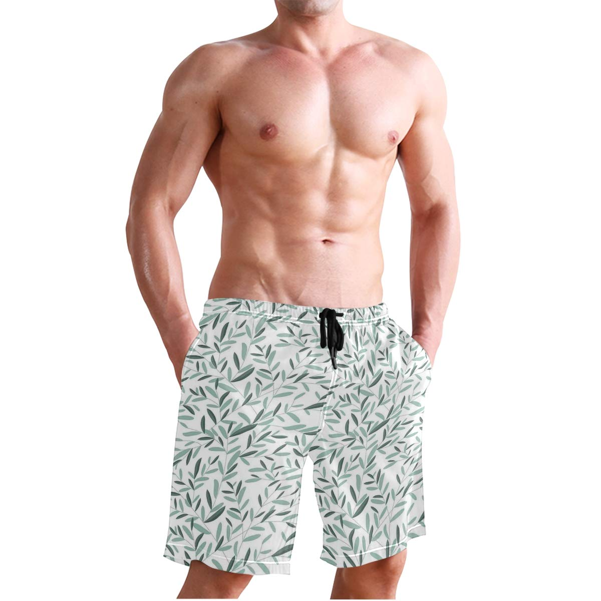 COVASA Mens Summer ShortsFloral Pattern with Leaves and Plants Tree Stems Bran