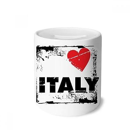 Amazon com: DIYthinker I Love Italy Word Love Heart Square Money Box