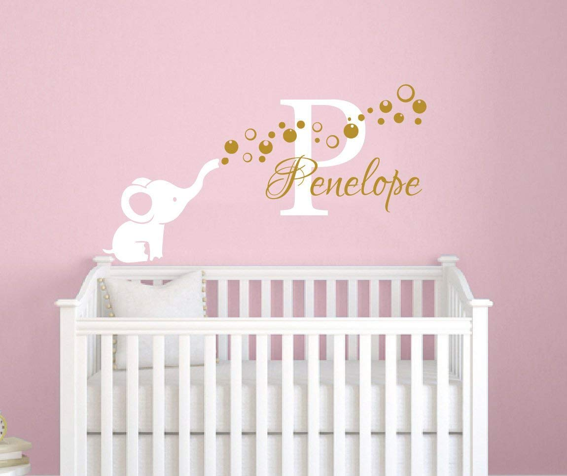 Name Wall Decal Elephant Wall Sticker Vinyl Nursery Personalized Girl Name Decal Wall Decor Nursery Wall Decor Baby Girl Name Wall Decal F62