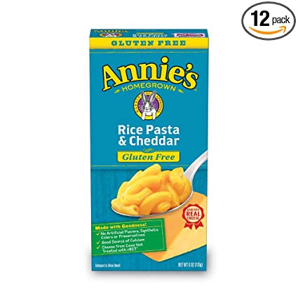 Annies Gluten Free Rice Pasta & Cheddar Macaroni & Cheese, 12 Boxes, 6oz (Pack of 12)