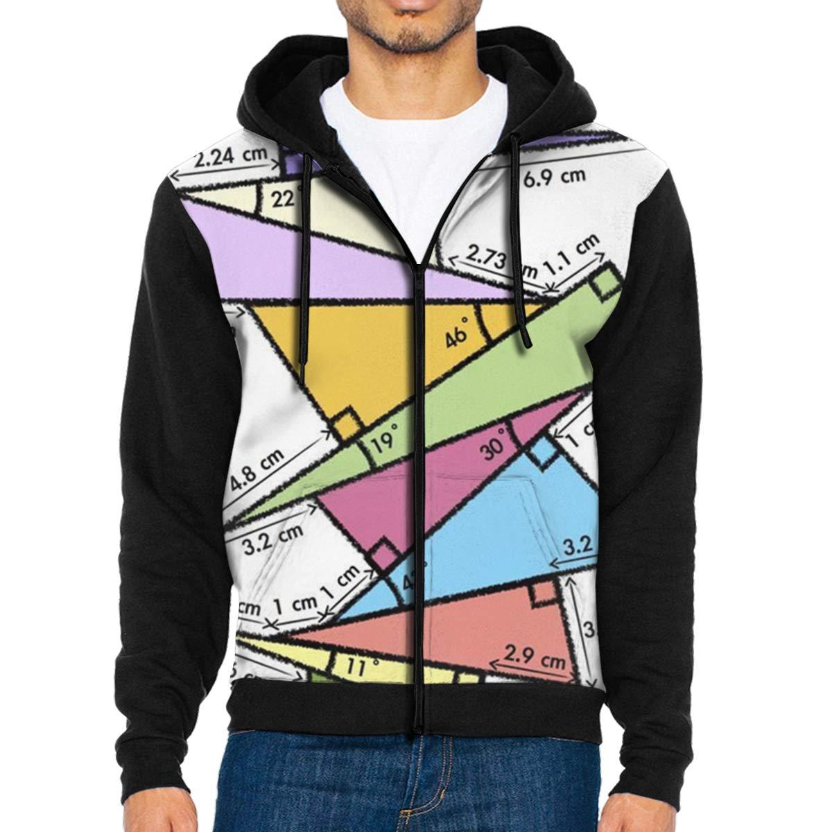 LFCLOSET Trigonometry Pile Up Lightweight Mans Jacket with Hood Long Sleeved Zippered Outwear