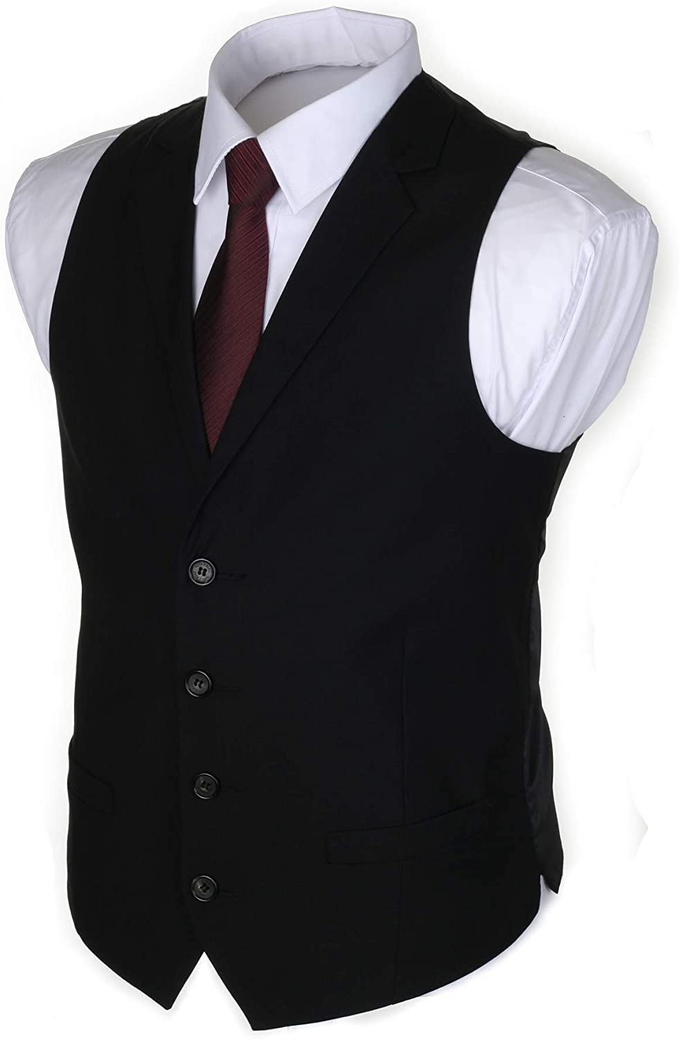 Ruth/&Boaz Mens 2Pockets 4Buttons Business Tailored Collar Suit Waistcoat