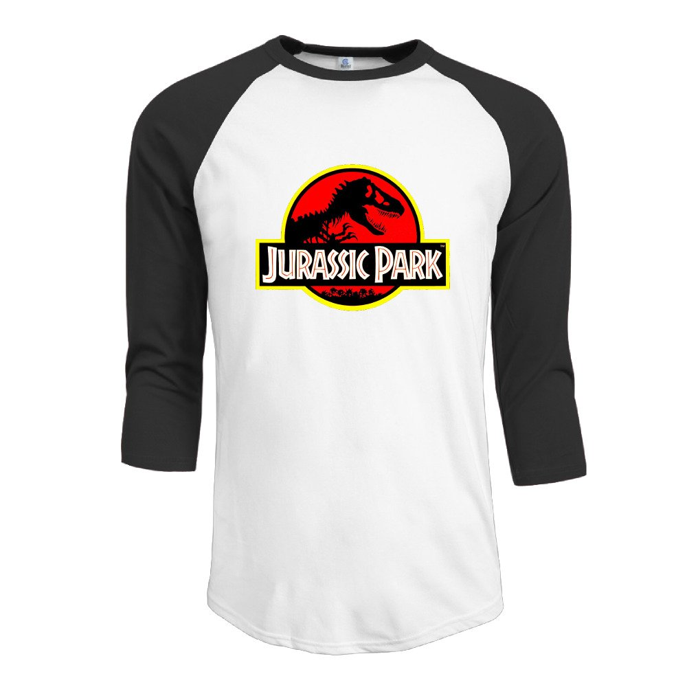 Men Jurassic Park Logo Vintage 3/4 Sleeve Raglan Tee Shirts
