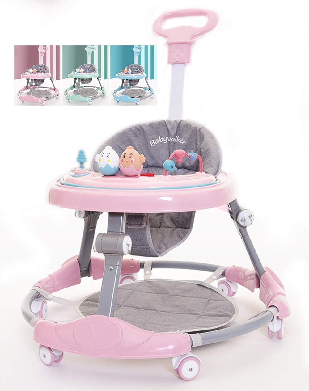 Olz Baby Walker 6-Speed Adjustment Multi-Function Anti-Rollover Anti-O-Legs Men and Women Toddler Walker Range 7-18 Months Boys and Girls