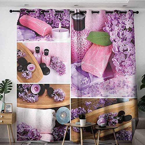 Extra Wide Patio Door Curtain,Home Decor Collection Aromatic Spa with Lilac Petals Fresh Therapy Oils Bath Salt Soap Relax Theme Meditation Collage,Room Darkening, Noise Reducing,W84x96L,Violet