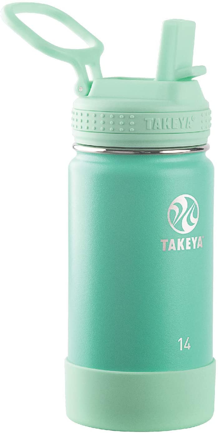 Takeya 51138 Kids Insulated Water Bottle w/Straw Lid, 14 Ounce, Seafoam