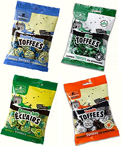 Walker's British Nonsuch Toffee & Éclair Assortment – English Creamy, Mint, Treacle & Banana Split - One 5.3-Ounce Bag of Each Flavor (Pack of 4)