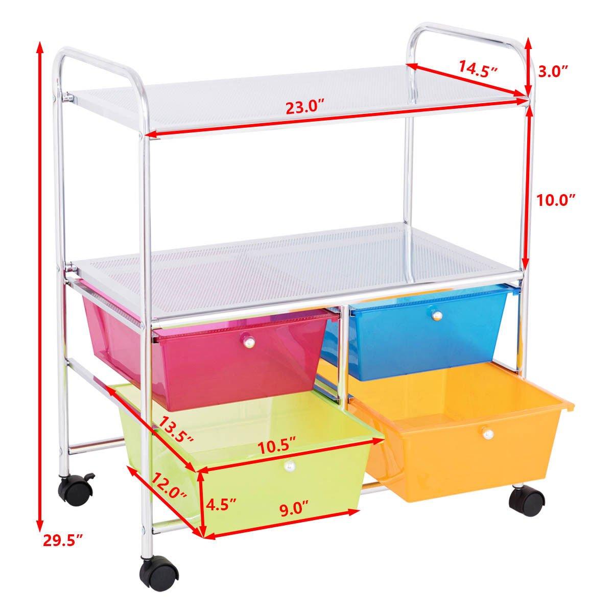 Giantex Rolling Storage Cart w/ 4 Drawers 2 Shelves Metal Rack Shelf Home Office School Beauty Salon Utility Organizer Cart with Wheels (Blue Green Orange & Red) by Giantex (Image #7)