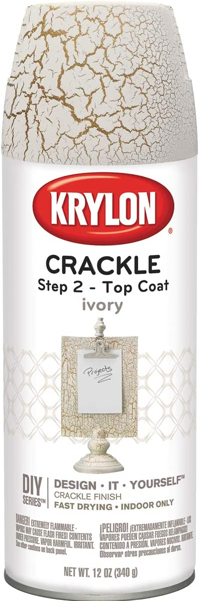 Krylon K08420007 Top Coat Clear Crackle Finish Paint, 12 ounces